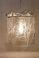 Frosted Autumn Pendant, Porcelain and Pewter Birds. Vanessa Mitrani.