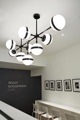 Large shinny black and white opal glass Chandelier Peggy . Vistosi.