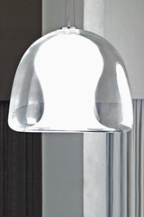 Clear Murano glass pendant Naranza, satined white blown glass interior- small model. Vistosi.