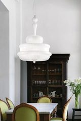 Novecento pendant lamp in white opal mouth blown Murano glass. Vistosi.