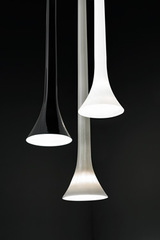 Sissi fine blown tube suspension in blown glass - White. Vistosi.