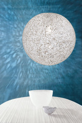 Sphere pendant in blown white glass murrine Rina 35. Vistosi.