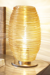 Large amber  Murano glass lamp  collection Damasco in a Bozzolo - clear glass version. Vistosi.