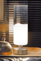 Small clear and white Murano glass table lamp in cylinder Lio Collection. Vistosi.